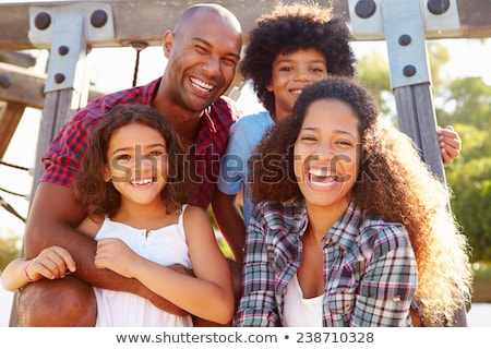 boldog · fiatal · srác · szórakozás · apa · játszótér · gyermek - stock fotó © lopolo