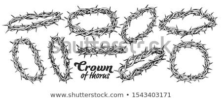 Corona religiosa simboli set inchiostro vettore Foto d'archivio © pikepicture