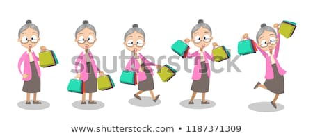 Old Lady with Grey Hair Shopping Sale Bag Package Stock photo © robuart