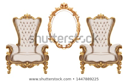 Golden baroque armchair Vector. Luxurious furniture design. Victorian rich ornaments decors Stock photo © frimufilms
