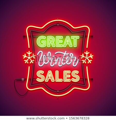 great winter sales christmas neon sign stock photo © voysla