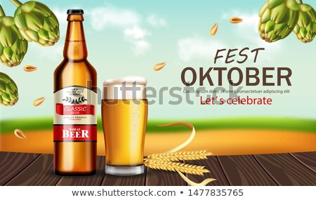 Beer bottle and mug Vector realistic mock up. Fresh drink produc Stock photo © frimufilms