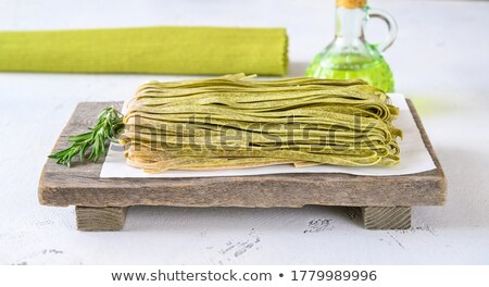 Spinach fettuccine with fresh rosemary Stock photo © Alex9500