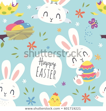 Cute Easter vector pattern with bunnies, chickens, flowers and butterfly on white background  Stock photo © Pravokrugulnik