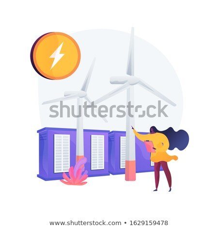 Wind farm with windmills vector concept metaphor. Stock photo © RAStudio