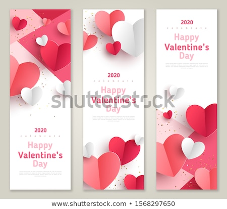 Valentines day sale design with red and white heart on pink background. Vector special offer illustr Stock photo © articular