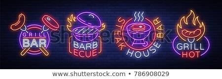 BBQ buli neon címke barbecue promóció Stock fotó © Anna_leni