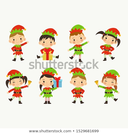 Female Santa Helper or Elf Girl Isolated Character Stock photo © robuart