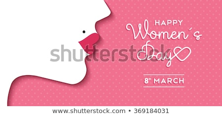 happy womens day event card with lady face Stock photo © SArts