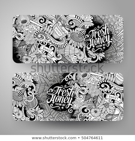 Honing doodle banner cartoon gedetailleerd Stockfoto © balabolka