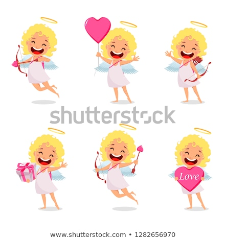 Angelic Child, Cupid Girl with Wings and Nimbus Stock photo © robuart