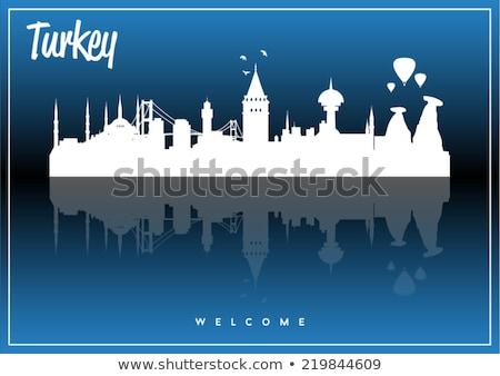 Istanbul Skyline with Gray Landmarks, Blue Sky and Reflections.  Stock photo © ShustrikS