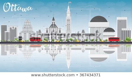 Otawa linha do horizonte azul edifícios reflexões Foto stock © ShustrikS