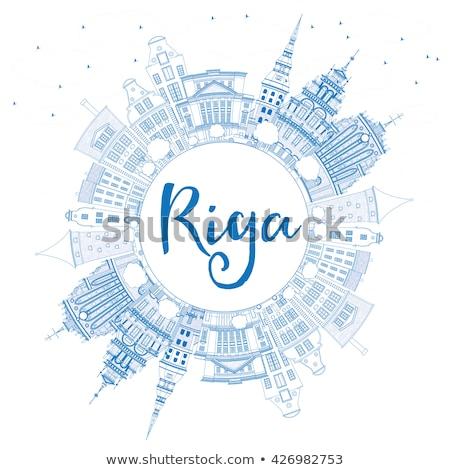 Outline Riga Skyline with Blue Landmarks and Copy Space.  Stock photo © ShustrikS