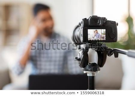 Kamera videó blog indiai férfi blogger Stock fotó © dolgachov
