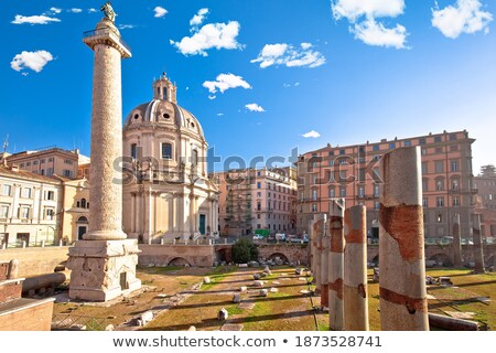 Stockfoto: Rome Ancient Trajans Forum Square Of Rome Sun Haze View Ruins