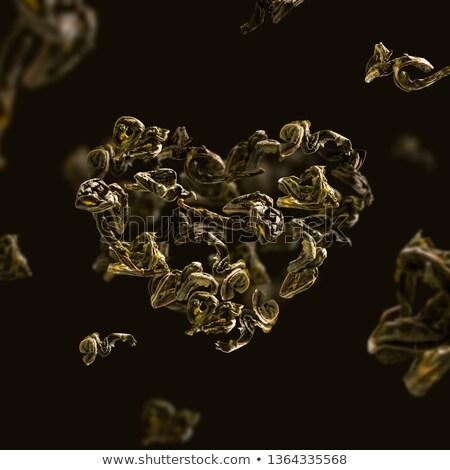 Thé vert laisse vol forme coeur alimentaire Photo stock © butenkow