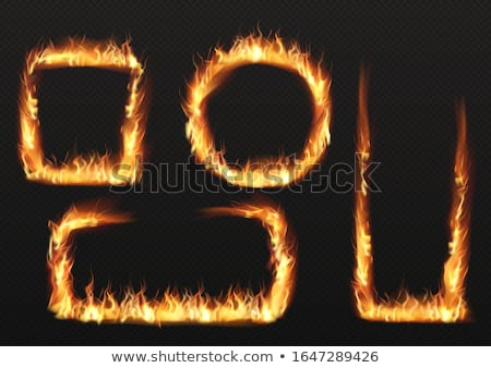 Bright fire flame in rectangle frame shape on transparent Stock photo © evgeny89