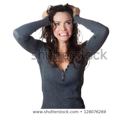 Stockfoto: Mooie · vrouw · haren · heldere · slaapkamer · interieur