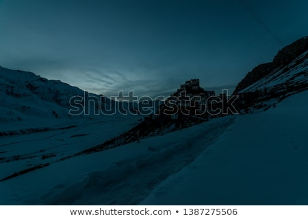 黄昏 修道院 ヒマラヤ山脈 谷 空 日没 ストックフォト © dmitry_rukhlenko
