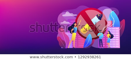 Roken sigaretten banner zakenvrouw wijzend Stockfoto © RAStudio