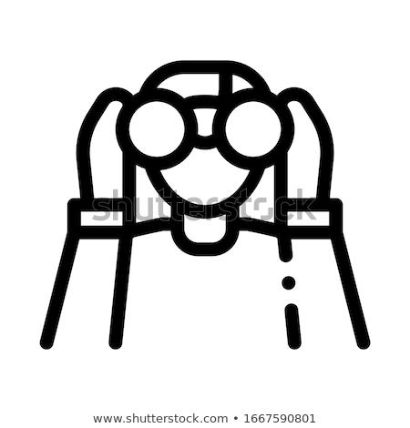 Human Watching Binocular Icon Thin Line Vector Stock photo © pikepicture