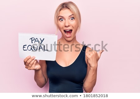 Beauty blonde woman and men in background stock photo © konradbak