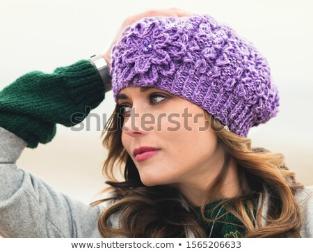 Blond woman with purple woolen scarf Stock photo © aladin66