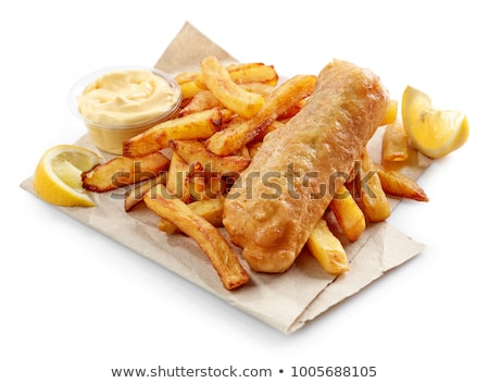 battered fish and chips in paper stock photo © latent