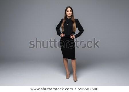 肖像 · 小さな · きれいな女性 · 立って · グレー · 見える - ストックフォト © HASLOO