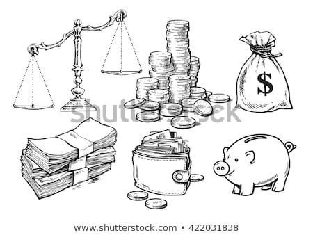 Hand-drawn coin stacks and money symbols Stock photo © mikemcd