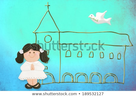 first communion card cute dark-haired doll Stock photo © marimorena