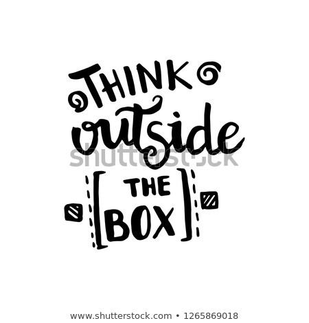 Thinking outside the box phrase, handwritten with white chalk on Stock photo © nenovbrothers