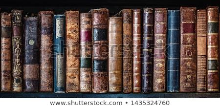 Antik könyvek boglya kopott szemüveg felső Stock fotó © klsbear
