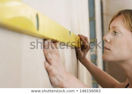 trabajador · de · la · construcción · espíritu · nivel · edificio · casa · ventana - foto stock © photography33