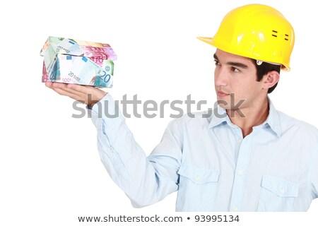 Foto stock: Arquiteto · casa · dinheiro · construção · modelo