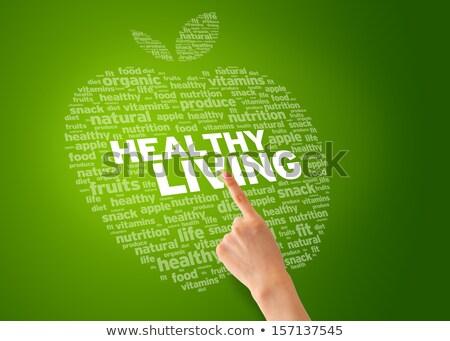Yaşayan parmak işaret sağlıklı yaşam elma yeşil Stok fotoğraf © kbuntu