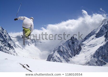 Skiing. Athlete in mid-air Stock photo © yura_fx