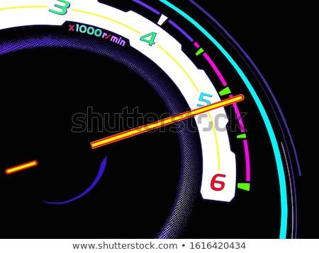 Azul velocímetro noite tiro painel de instrumentos brilhante Foto stock © bobbigmac