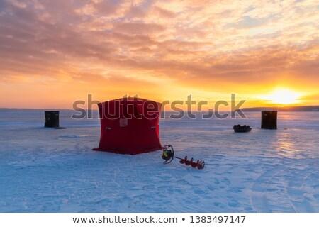 Hielo pesca cabaña crepúsculo Canadá Foto stock © michelloiselle