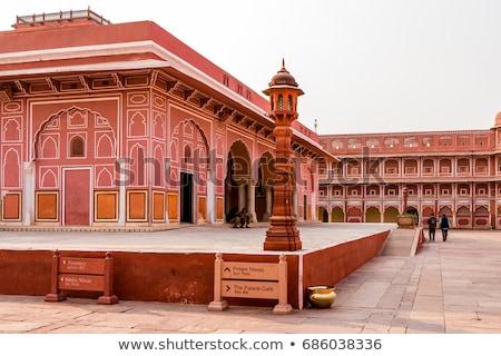 Ville palais Inde mur art orange Photo stock © johnnychaos
