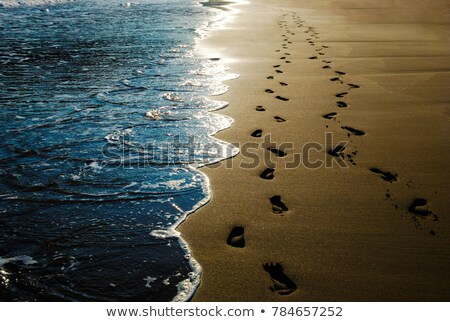 two footprints in sand at the beach stock photo © ozaiachin