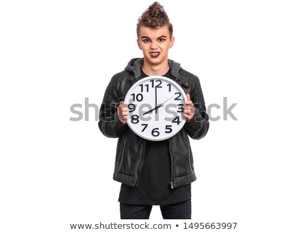 divertente · uomo · ax · clock · bianco · lavoro - foto d'archivio © photography33
