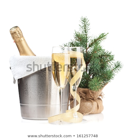 champagne glasses firtree and christmas decor stock photo © karandaev