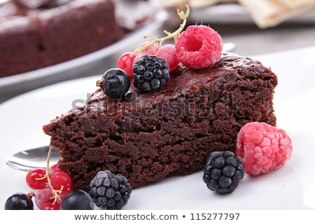 chocolate pie and berries fruits stock photo © m-studio