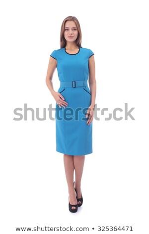 Divat nő modern hosszú kék ruha Stock fotó © gromovataya