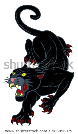 siyah · panter · kafa · kedi · siluet · orman - stok fotoğraf © dagadu