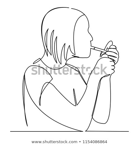 Portrait of the young lady with a cigarette Stock photo © acidgrey
