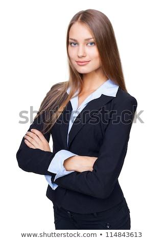glimlachend · zakenvrouw · gevouwen · armen · naar · camera - stockfoto © wavebreak_media