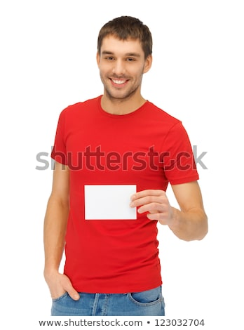 handsome man with note card stock photo © dolgachov